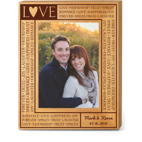 Love Letters Wood Frame, - No photo insert, 8x10 Engraved Wood Frame, White