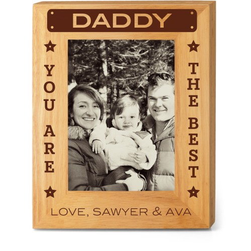 Best Daddy Wood Frame, - No photo insert, 8x10 Engraved Wood Frame, White