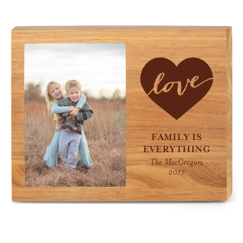 Love Script Wood Frame