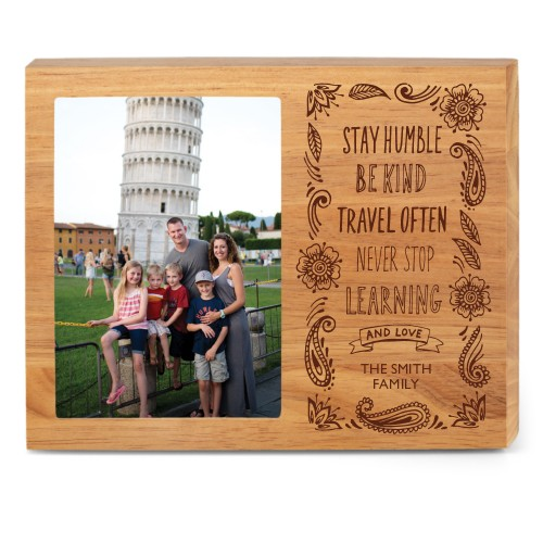 Travel Often Wood Frame, - Photo insert, 10x8 Engraved Wood Frame, White