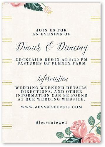 Impeccable Floral Wedding Enclosure Card