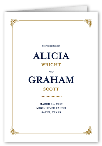 Gilded Scrollwork Wedding Program