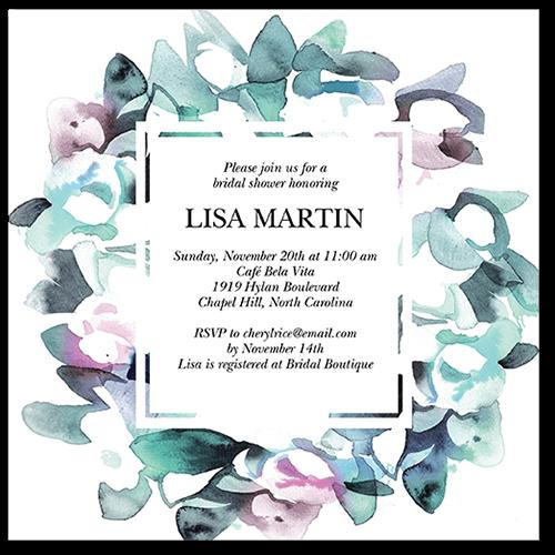 Alluring Wreath Bridal Shower Invitation, Square Corners