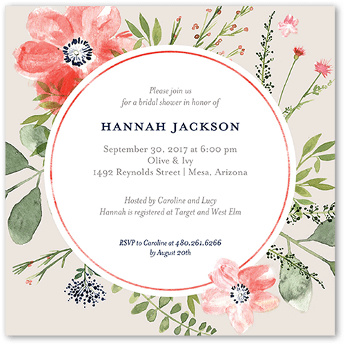 Bridal Bouquets 5x5 Stationery Bridal Shower Invitation Shutterfly