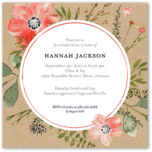 Bridal Bouquets Bridal Shower Invitation, Square Corners
