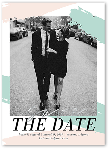 Shimmering Romance Save The Date, Square Corners