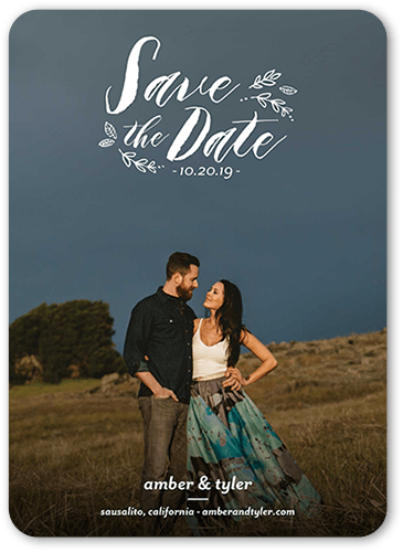 Subtle Foliage Save The Date, Rounded Corners