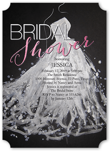 Sequin Splash Bridal Shower Invitation, Ticket Corners