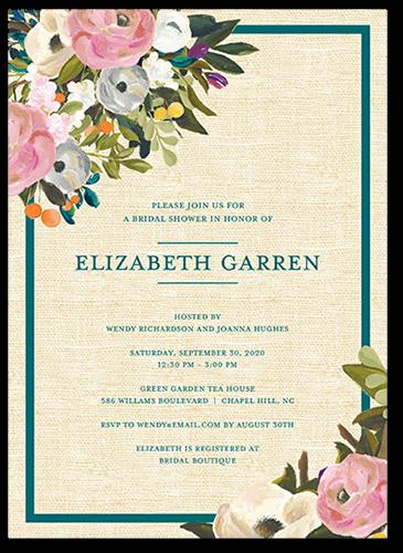 Painted Flowers Bridal Shower Invitation, Square Corners