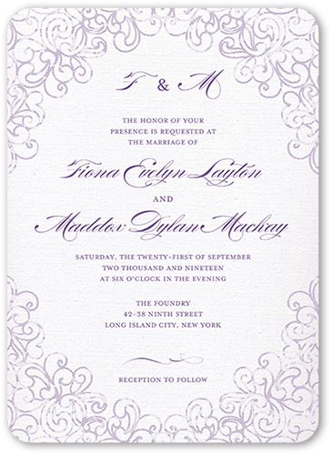 Dazzling Lace Wedding Invitation, Rounded Corners