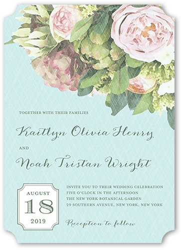 Flowering Affection Wedding Invitation, Ticket Corners