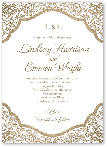 Foremost Floral Wedding Invitation, Square Corners