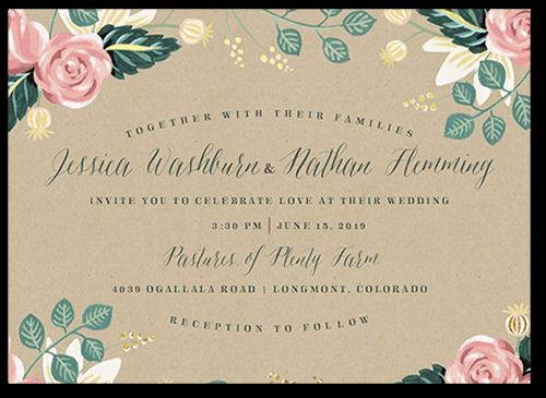 Impeccable Floral Wedding Invitation, Square Corners