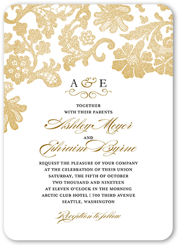 Luscious Lacing Wedding Invitation, Square