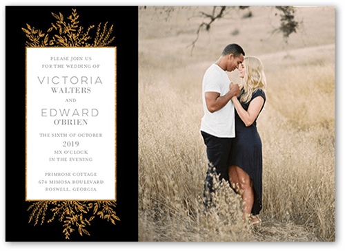 Bronze Botanicals Wedding Invitation, Square Corners