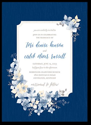 Rustic Wildflowers Wedding Invitation, Square Corners