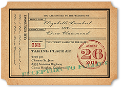 ticket to bliss wedding invitation