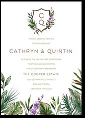 tropical herald wedding invitation