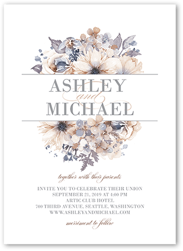Watercolor Bouquet Wedding Invitation, Square