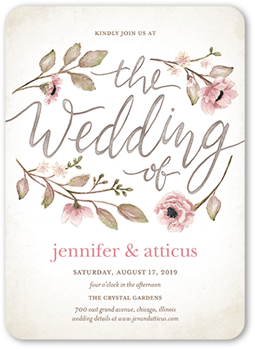 Delightful blooms 5x7 wedding invitation cards shutterfly front junglespirit Image collections