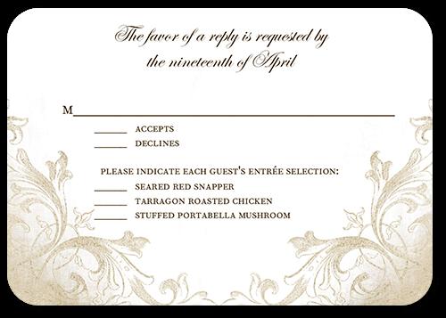 Faded Scroll Wedding Response Card