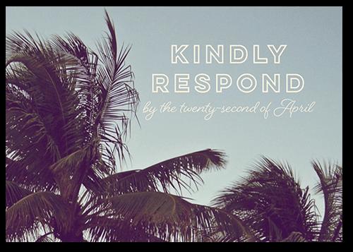 Modern Palms Wedding Response Card, Square Corners