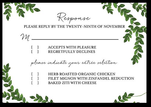 Charming Greenery Wedding Response Card, Square Corners