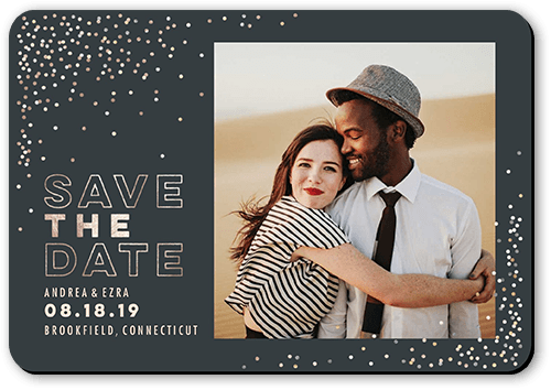 Festive Date Save The Date, Rounded Corners