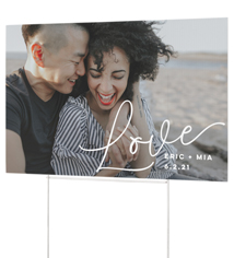 simple scripted love yard sign