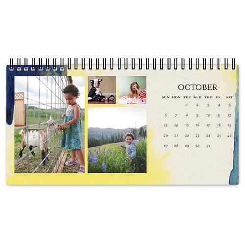 vibrant watercolor desk calendar