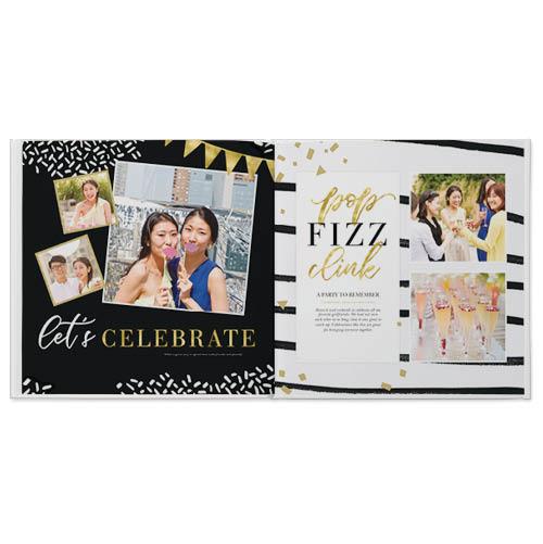 black and white confetti shine photo book